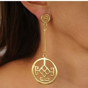 Long dangle earrings with hammered circle 24k GP